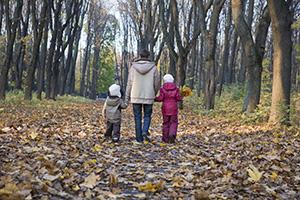 Parent walks with children in forest